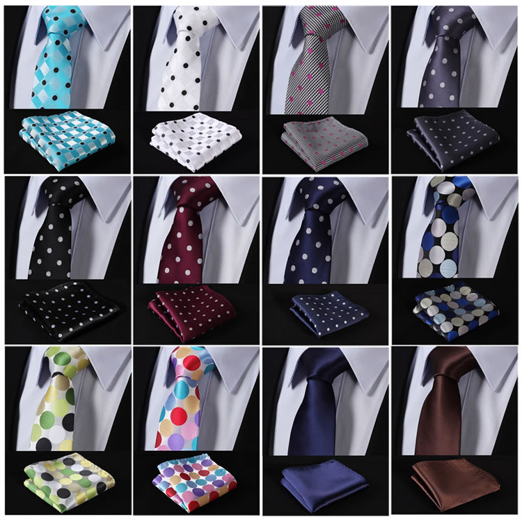 "EME Polka Dot 2.75"" 100%Silk Woven Slim Skinny Narrow Men Tie Necktie Handkerchief Pocket Square Suit Set"