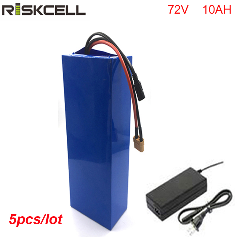 5pcs/lot DIY 72v 10ah li-ion battery pack with charger and BMS for 72 volt 1500w e-scooter free customs taxes and shipping 60 volt 3000w rechargeable 60v 25ah lithium ion battery pack with bms and charger