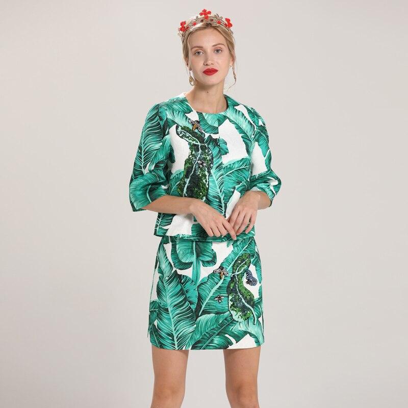 Nuevo diseñador de alta calidad Runway trajes de mujer moda 2018 estampado media manga Jacquard lentejuelas abrigo + paquete cadera Mini traje de falda-in Conjuntos de mujer from Ropa de mujer    1