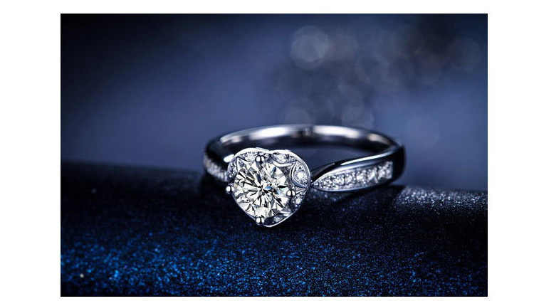 925 prata esterlina jóias coração padrão branco banhado a ouro anel semi montar 1ct anel de diamante sintético para mulher anel de noivado
