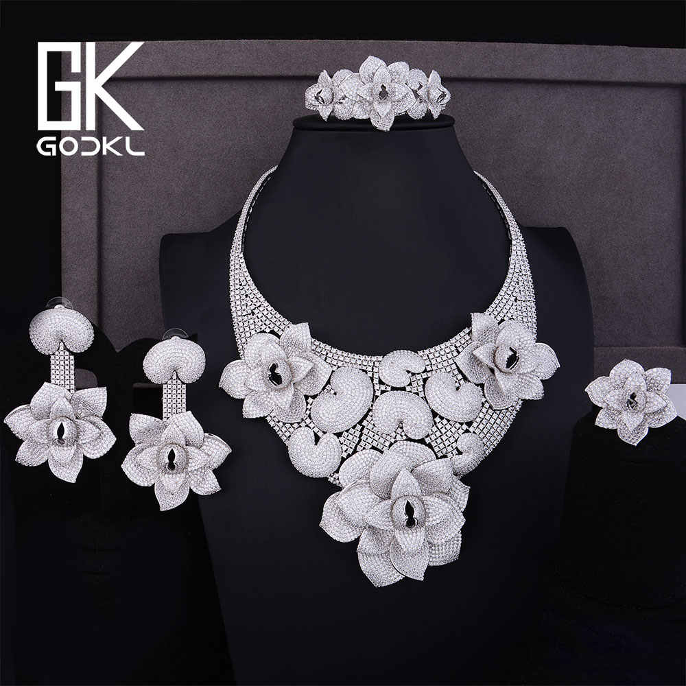 GODKI Luxury Cannibal flower Cubic Zirconia Nigerian Bridal Jewelry sets For Women dubai Silver jewelry sets indian jewelry Set