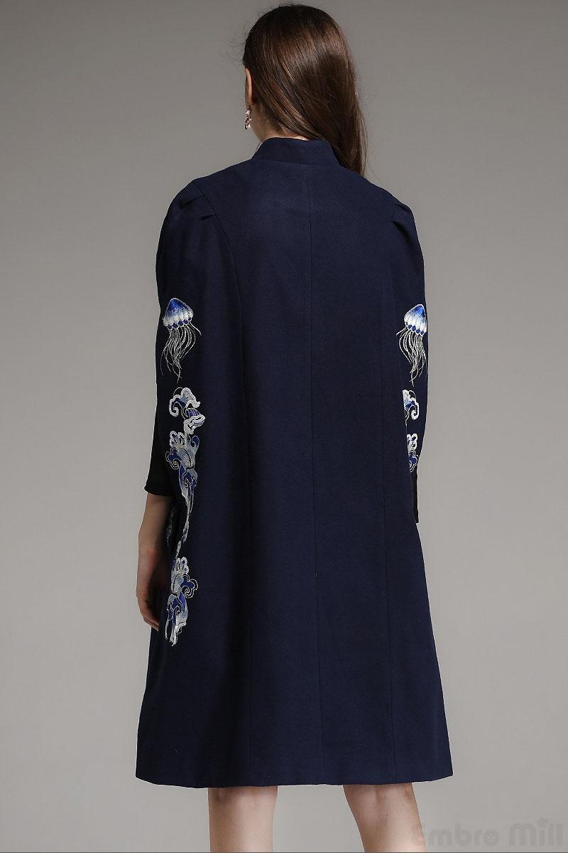 Chauve Femme Automne Hiver Type Bleu Élégante blanc Pardessus souris Vintage Vêtements De Lâche Royal Broderie Floral Manteau Laine Lady C1qFwq