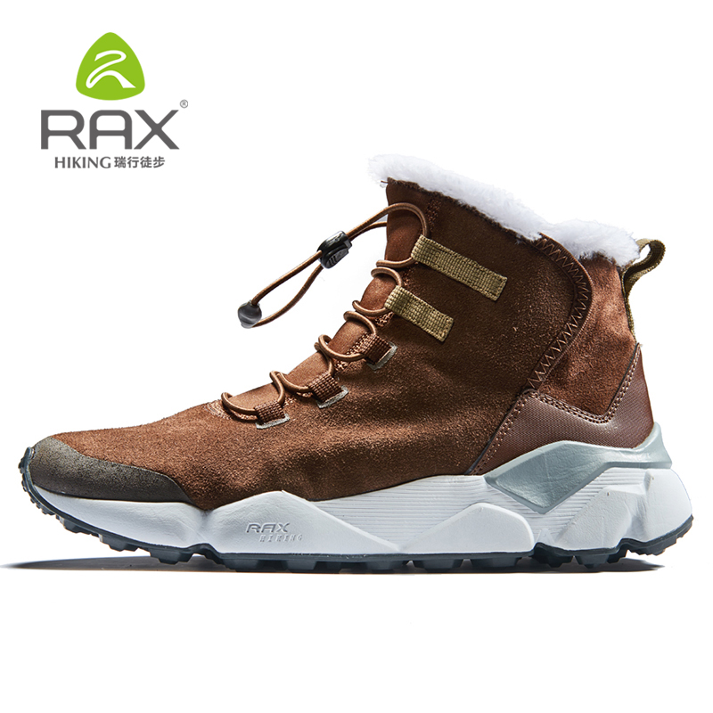 RAX New Winter Men's Boots Warm Wool Sneakers Outdoor Unisex Athletic Sport Shoes Comfortable Running Shoes Sale Size EU36 46