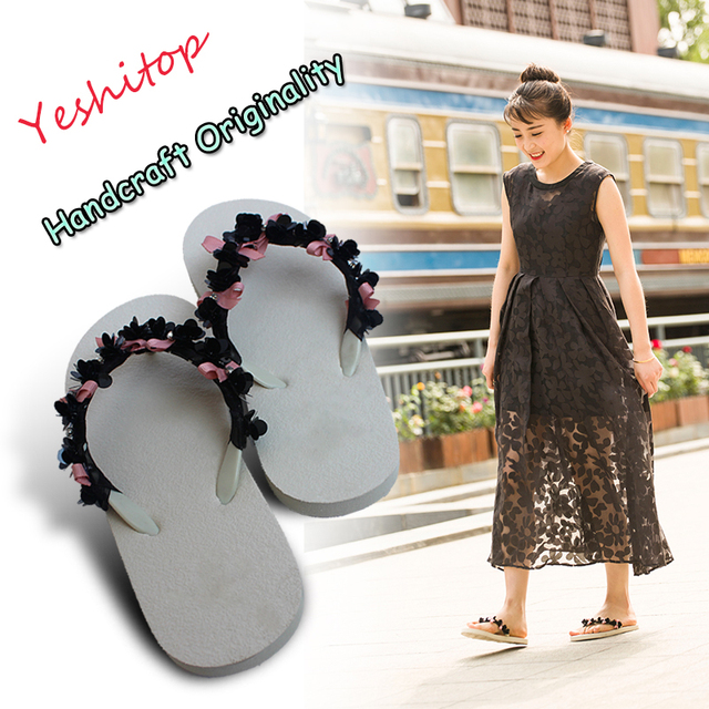 1968ab7086b73 2018 EUR 34-43 Yeshitop New Arrival OEM Handcraft Original Sequined Flats Flip  Flops Glitter Lady Sandals Comfortable Slippers