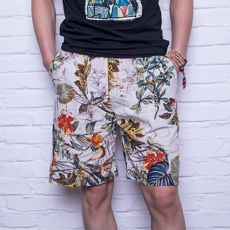 Cotton Linen Men's   Board     Shorts   Coral Red Beach   Shorts   Dragon Ball Pants Multiple Colors Print Casual Wear Plaid Bottom 4XL
