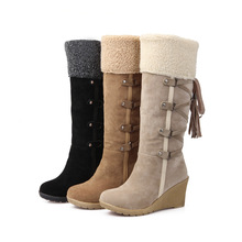 Women boots winter PU leather fashion warm snow boots women's shoes  buckle knee-high boots big size34-43 sh030020