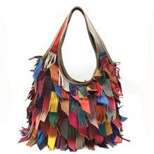 Color stitching Genuine Leather Women Handbags Designer Tassel Female Shoulder Bags Black Rivet Bag Studs Woman Crossbody Bag