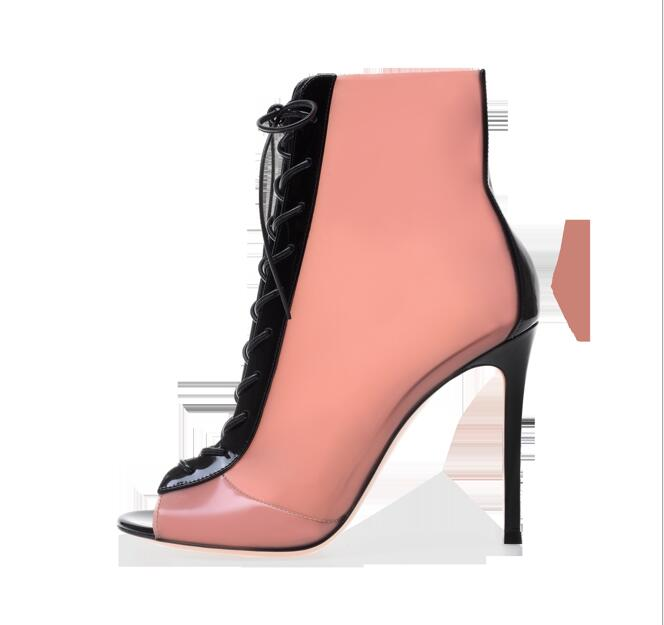 peep toe black heeled boots
