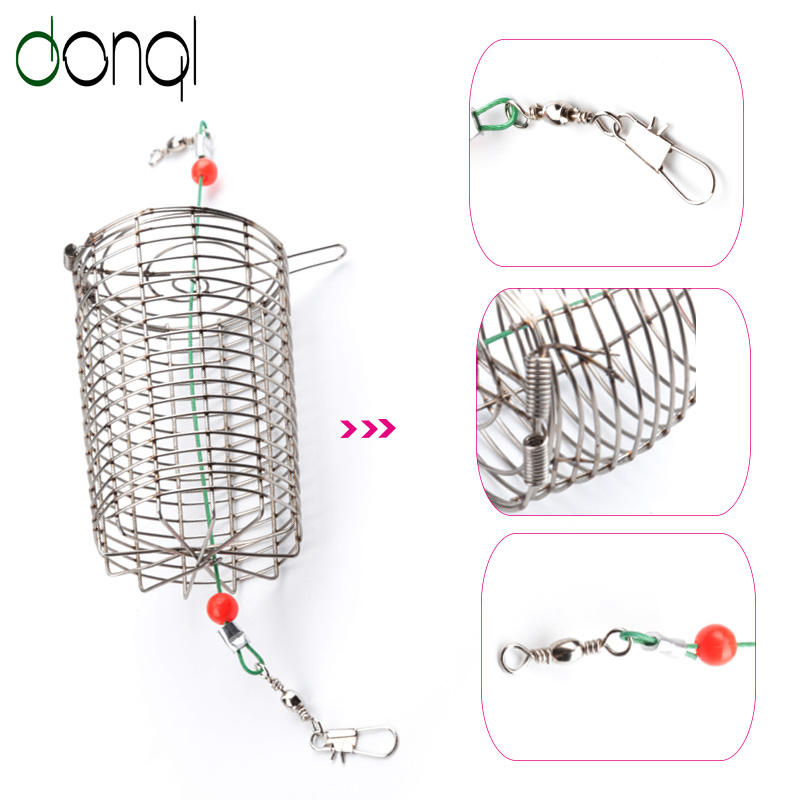 2Pcs/lot Stainless Steel Wire Fishing Lure Cage Small Bait Cage Fishing Basket Feeder Holder Fishing Tackle weight forward hook bait carp fishing tackle feeder bait cage lure pit device with lead pellet fishing lure pellet feeder