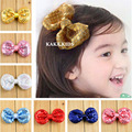 Baby Child Sequin Bow Hair Clip Girls Hair Bows Fuchsia Hair Bow Clips Kids Hair Accessories 12pcs HB110