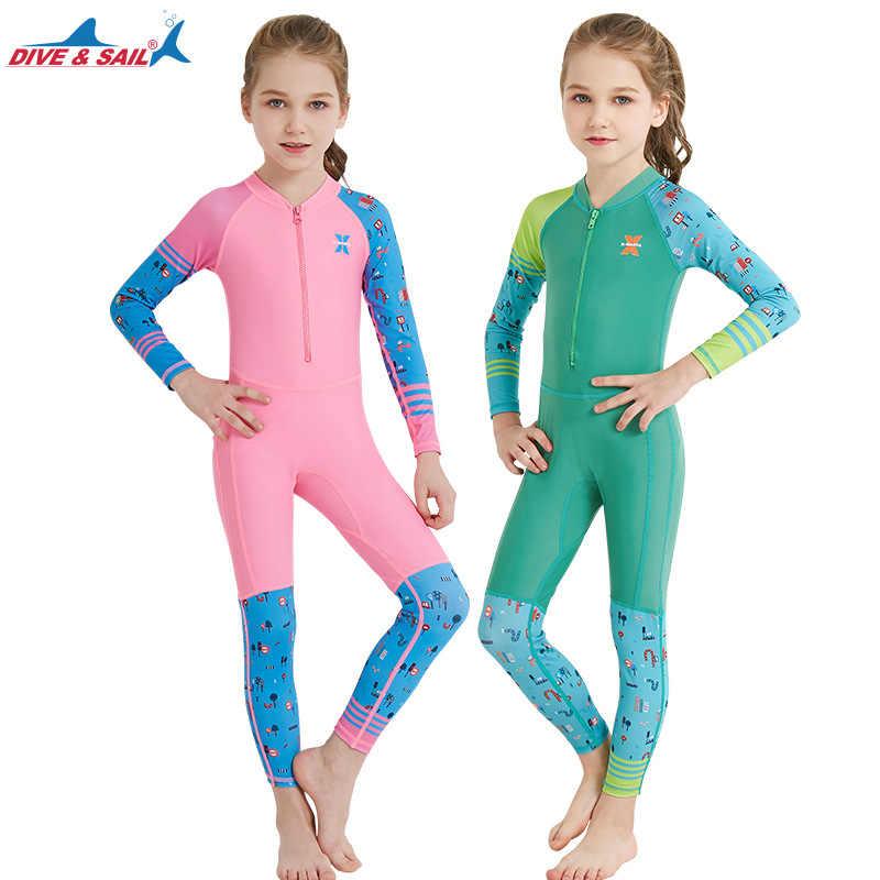 8cc426961fce Kids Full Coverage Thin Swimwear Children Sunscreen Swimsuit One Piece  Zipper Beachwear Baby Girls Surfing Bathing