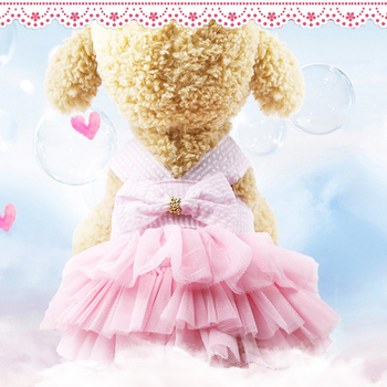 Sling Dog Dress Summer Dog Lace Tullle Dress Pet Dog Clothes for Small Dog Party Birthday Wedding Bowknot Dress Puppy Costume 2