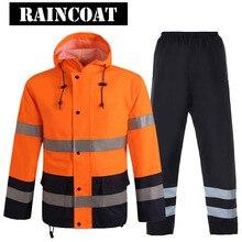 Hi Vis Reflecterende Veiligheid Regen Jas Broek Oxford Stof Werkkleding Multi pocket Verkeersveiligheid Jas Fluorescerend Oranje Zwart