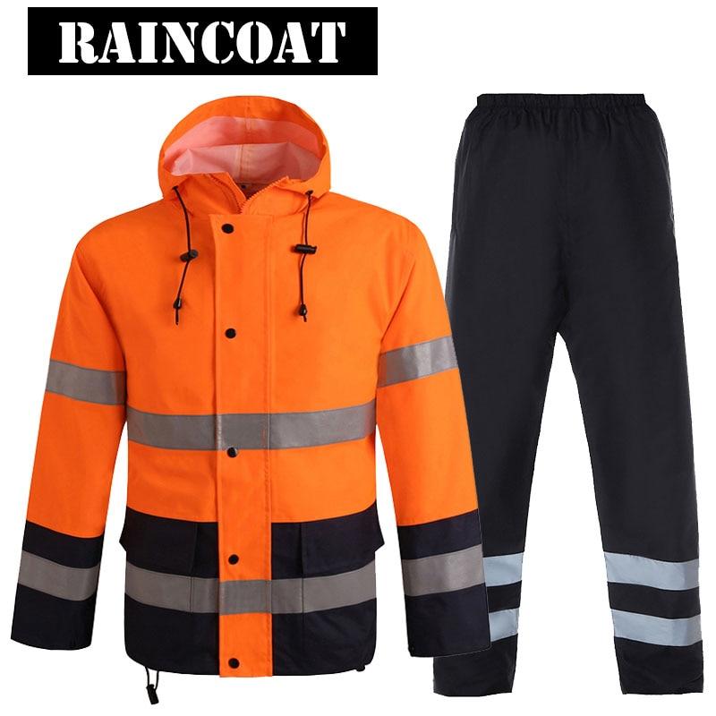 Hi Vis Reflective Safety Rain Jacket Pants Oxford Fabric Workwear Multi-pocket Safety Traffic Jacket Fluorescent Orange Black