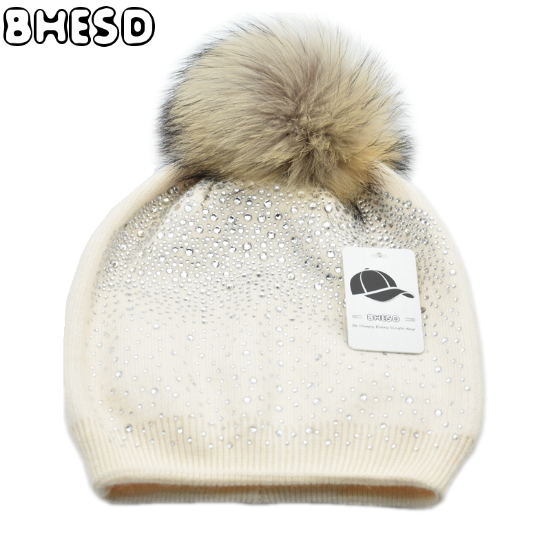 BHESD 2017 Shining Rhinestone Hat Women Winter Mink Pom Pom Beanie Hat Female Warm Rabbit Fur Wool Knitted Hats Bones JY-043 women s winter beanie hat wool knitted cap shining rhinestone beanie mink fur pompom hats for women