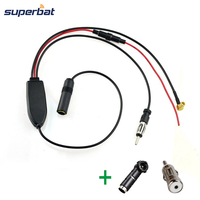 Superbat DAB DAB Car Radio Antenna DAB FM AM Aerial Converter Splitter Amplifier With ISO Connectors