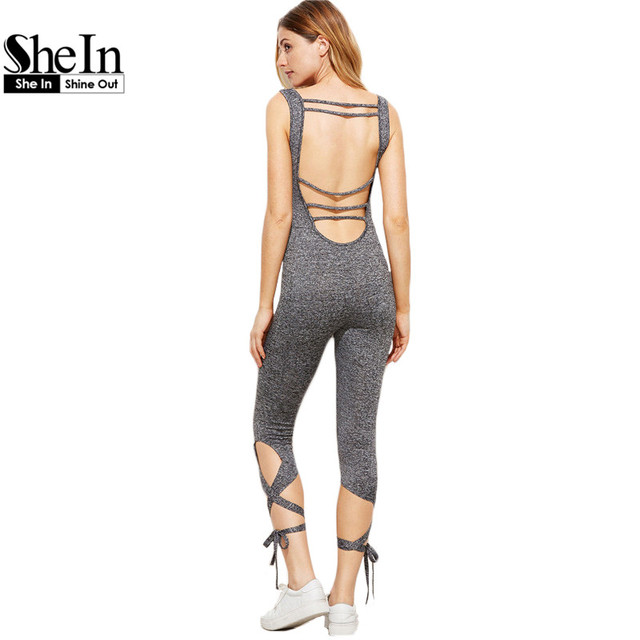 SheIn Bodycon Jumpsuit Womens Grey Marled Strappy Scoop Back Lace Up Hem Skinny Jumpsuit Sleeveless Sexy Jumpsuit