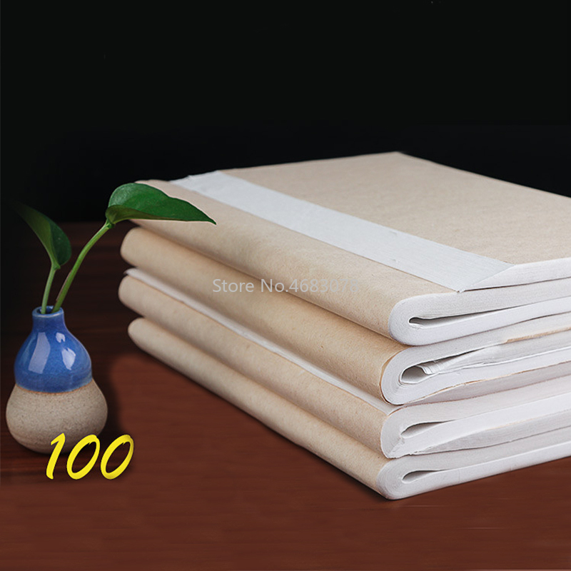 100Pcs/lot Rice Paper Semi-Raw Xuan Paper Calligraphy Painting Creation Chinese Painting Paper Special MediumBrush Writing Paper