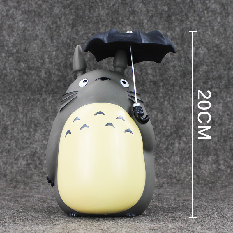 20cm hayao miyazaki My Neighbor Totoro with Umbrella PVC Action Figure Collectible Model Toy Piggy Bank kung fu panda 3 po piggy bank pvc action figure collectible model toy kids gift 18cm