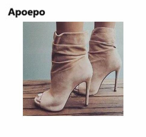 Apoepo Woman high quality ankle boots beige suede high heel boots 2017 summer open toe ladies shoes gladiator boots short boots choudory 2017 summer high heel sandal open toe glitter embellished thick heels woman shoes high quality suede ankle strap shoes