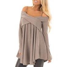 Свитер-туника с открытыми плечами и перекрещивающимися ремешками, повседневный Однотонный пуловер с длинными рукавами, джемпер, женские топы, Pull Femme