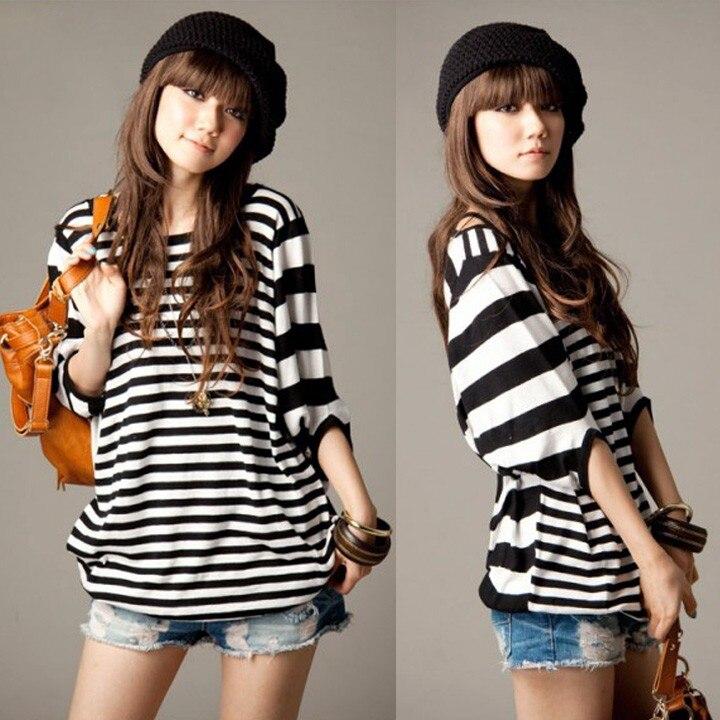 Womens Korean <font><b>Stripe</b></font> Print Batwing Loose Plus Size Casual T Shirt Blouse <font><b>Tops</b></font> <font><b>Dolman</b></font> Half Short Sleeve Tees Pullover