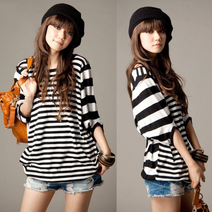 Womens Korean <font><b>Stripe</b></font> Print Batwing Loose Plus Size Casual T Shirt <font><b>Tops</b></font> <font><b>Dolman</b></font> Half Short Sleeve Tees Pullover