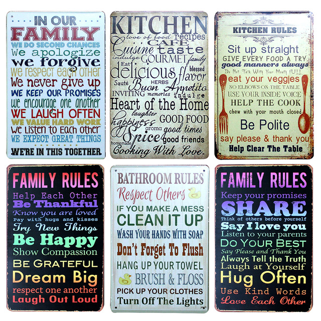 Our Kitchen Rules Metal Tin Sign Hotel/Cafe/Bar Wall Decor Metal
