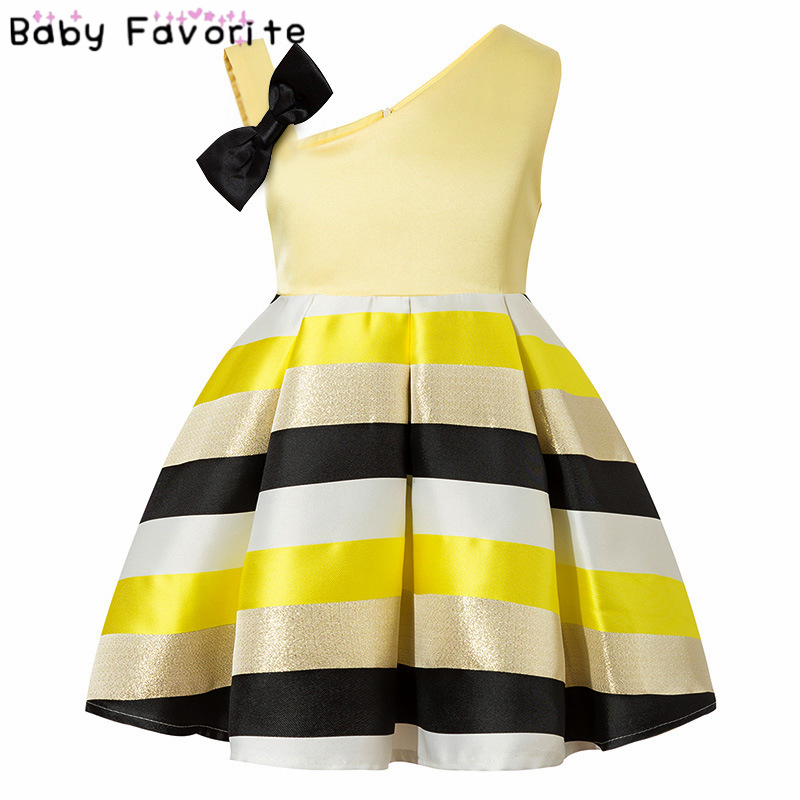 Baby Favorite Lady Girl Party Dress With Black Bow A-line Dress Luxurious Children's Kids Luxury Dress Pink Yellow Green DS-53