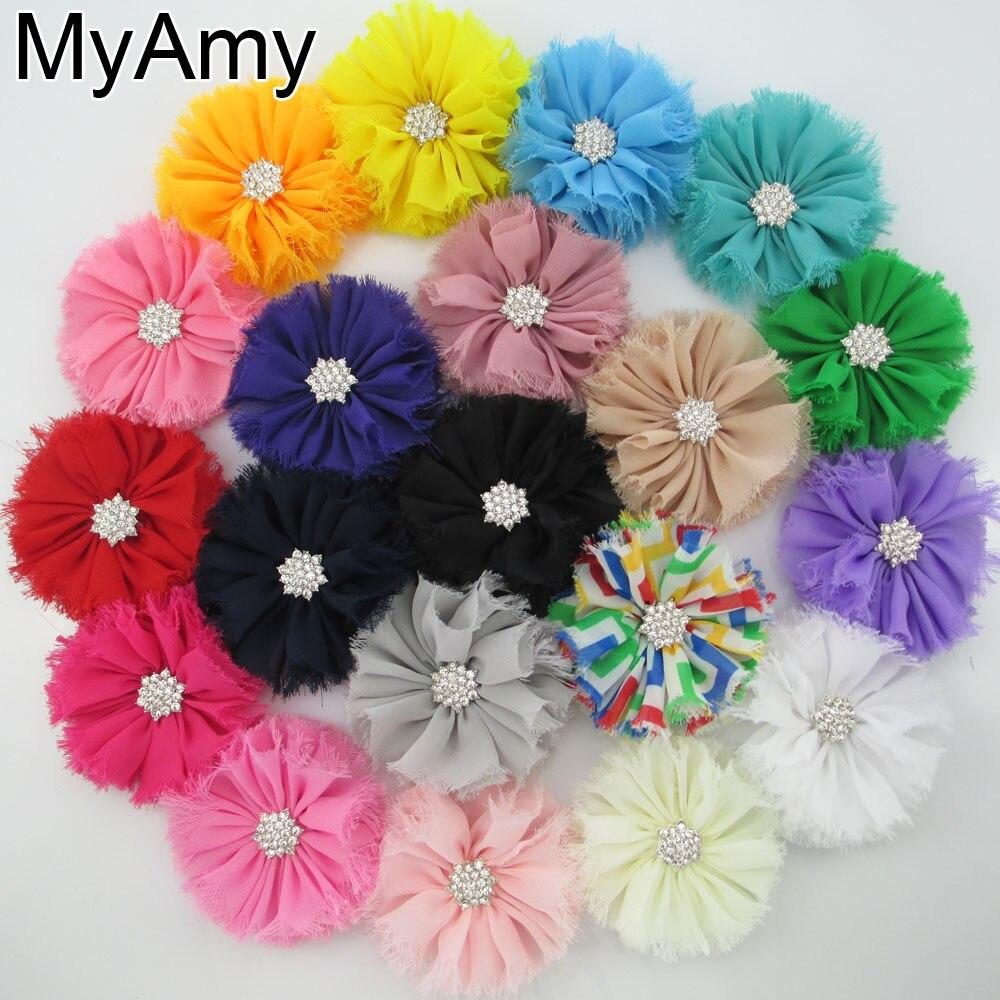 ②Myamy 1000 unids/lote 2 gasa lamentable flor con clip cristal ...