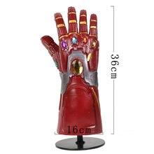 アメリカスーパーヒーローweapen endgame ledライトガントレット石コスプレ手袋柔軟指コスプレ