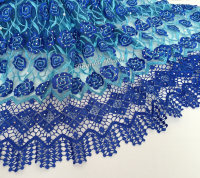 5 Yards Lovely African French Lace Floral Tulle Fabric With Cord Embroidery Lace Border Lots Of