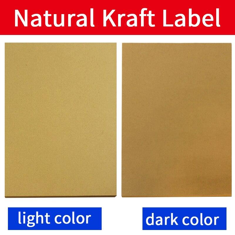 A4 hoja de etiqueta de papel Kraft auto-adhesivo pegatinas para impresora de inyección de tinta/láser/copiadora 50 hojas superficie mate