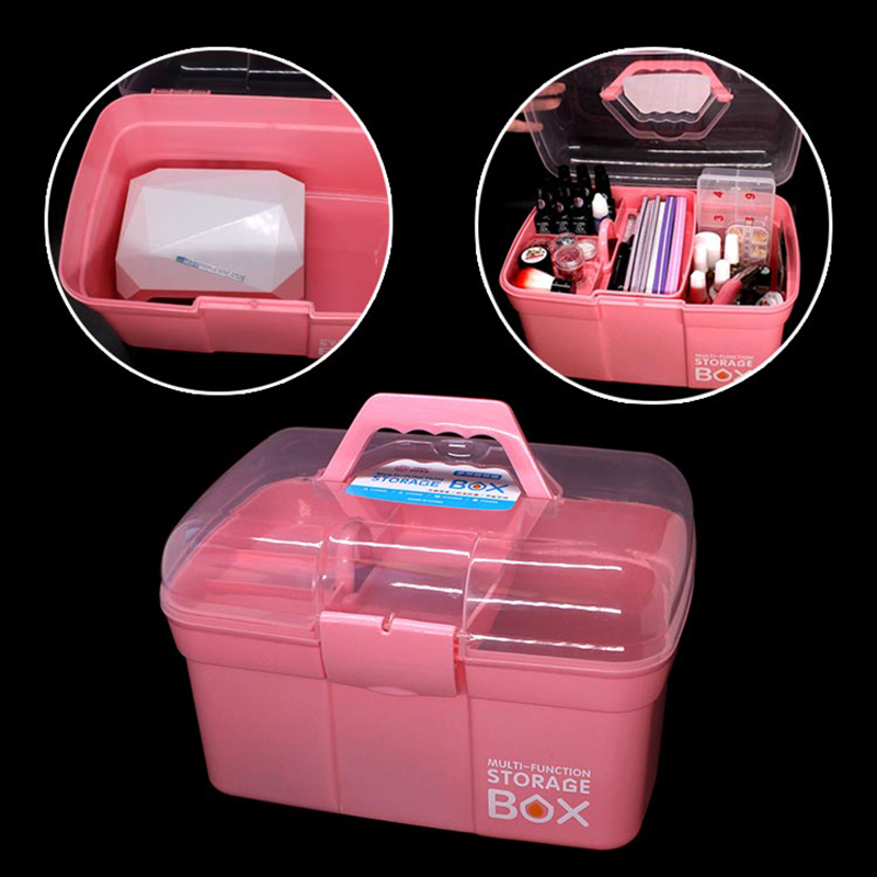 New Nail Storage Box Plastic Scissors Makeup Storage Boxes Nail Polish Pen Brushes Desktop Container Manicure Tool