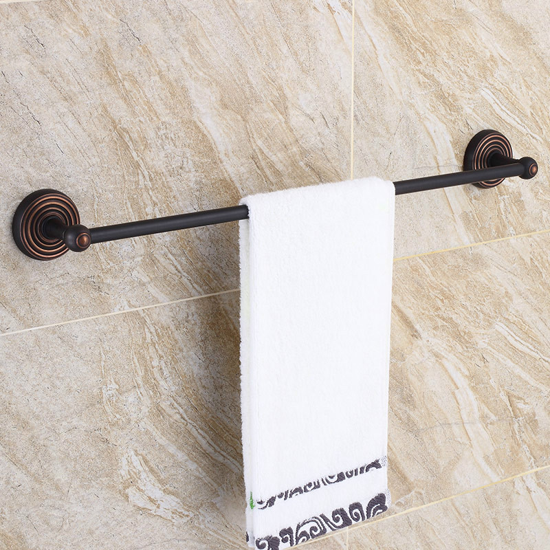 Black Bronze Towel Bar Retro Brass Rack Mediterranean Single Rod 60 Cm Towel Holder Round Base Bathroom Accessories Set
