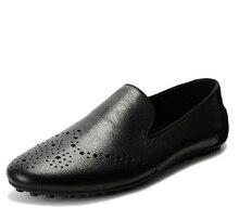 EUR38-44 Натуральная Кожа SLIP-ON БИЗНЕС Мокасины мужские мокасины вождение причинно-следственной обувь