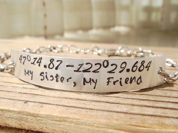 Silver Gps Coordinates Bracelet Customized Sister Brother Best Friend Friendship Gift Personalized Jewelry