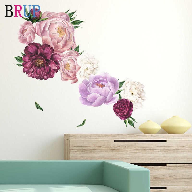 Pink Peony Flower Wall Stickers Kids Baby Nursery Decor Mural Decal Wreath
