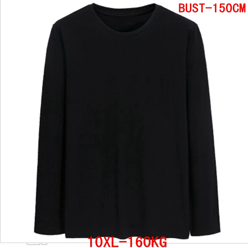 Men's Big T-Shirt Large Size 7XL 8XL 9XL 10XL Long Sleeve Round Neck Loose Cotton Casual Sports Black Gray White