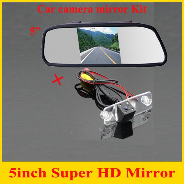 """5 """" monitor del espejo + HD del CCD de visión trasera aparcamiento cámara para Hyundai Sonata Tucsen acento Elantra Kia Carens cámara posterior del coche"""