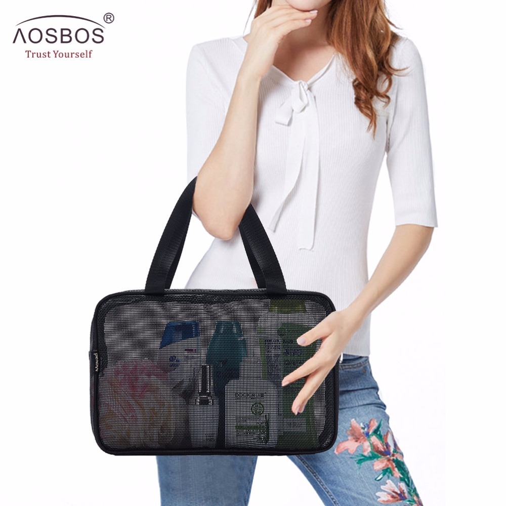 Aosbos Mesh Travel Cosmetic Bag Portable Zipper Makeup Bags For Men Women Multifunctional Storage Handbags Polyester Wash Bag