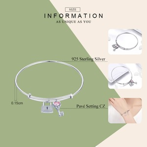 Image 2 - WOSTU NEW 100% 925 Sterling Silver Key & Lock Bracelets For Women Bangles Wedding Engagement Silver 925 Jewelry Love Gift CQB127