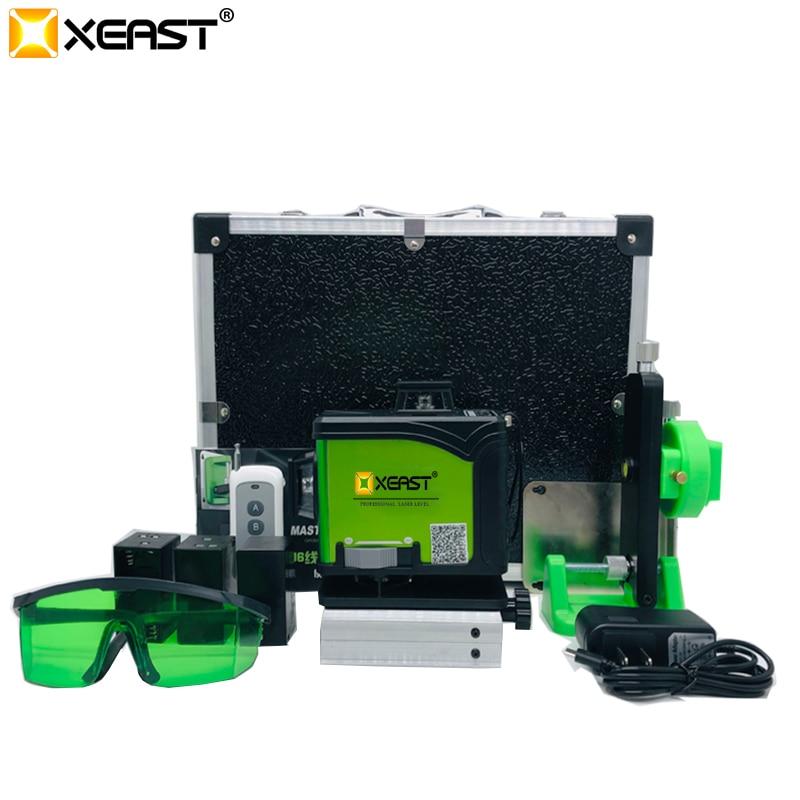 Niveau laser XEAST 16 ligne 4D niveau Laser 360 Vertical et Horizontal niveau Laser auto-nivelant ligne transversale 4D niveau laser vert avec extérieur