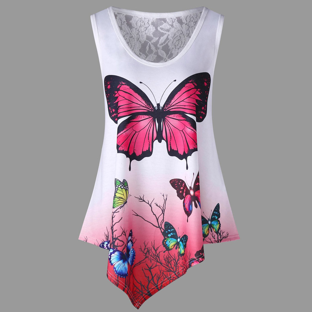 Shirt Newly Design Women Butterflies Print Sleeveless Tank Top Floral Lace Visible Long Blouse J15T Drop Shipping