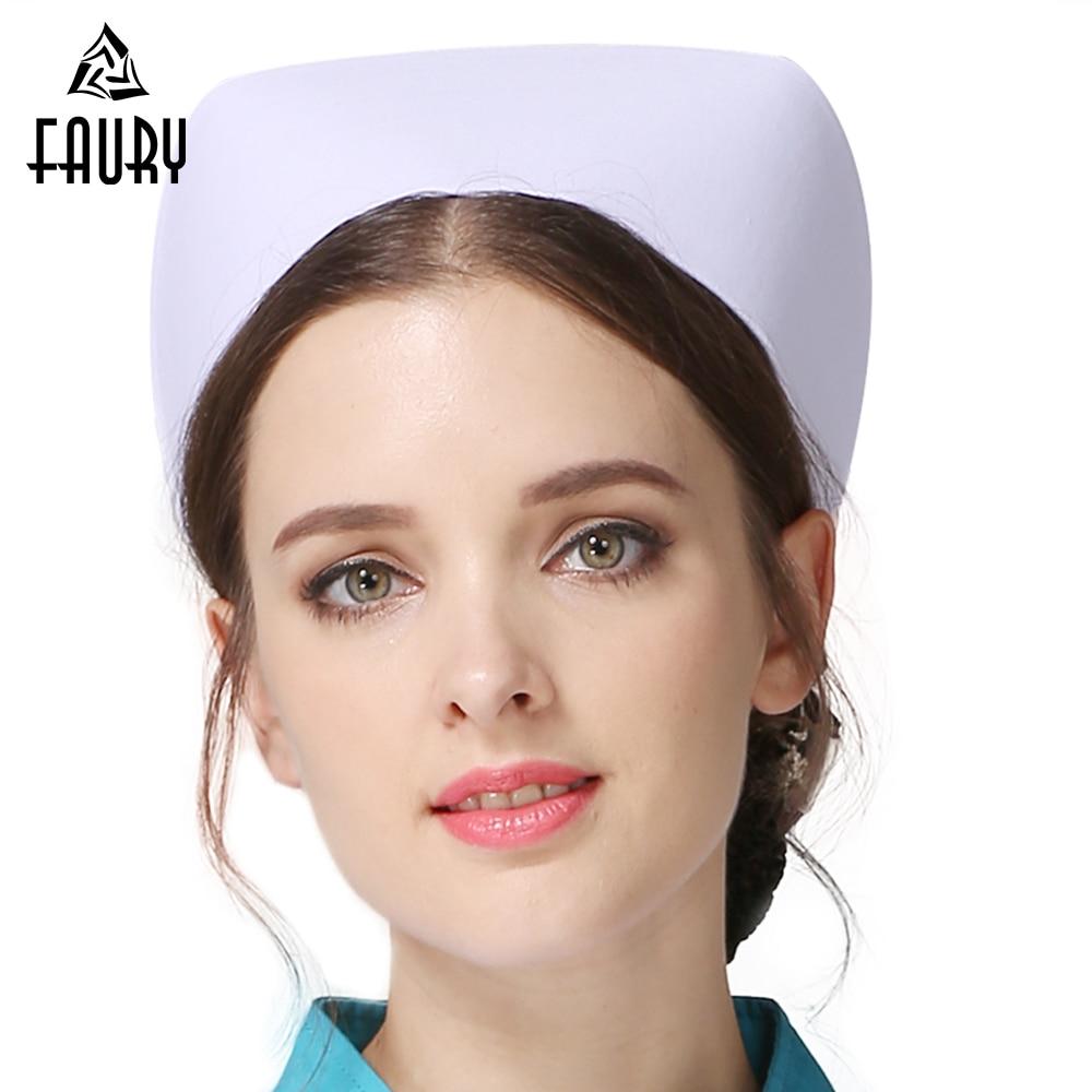 2018 Profession Nurse Hat Medical Staff White Nurse Cap Female Medical Doctor Hat Hospital Detist Work Caps Wholesale Cap