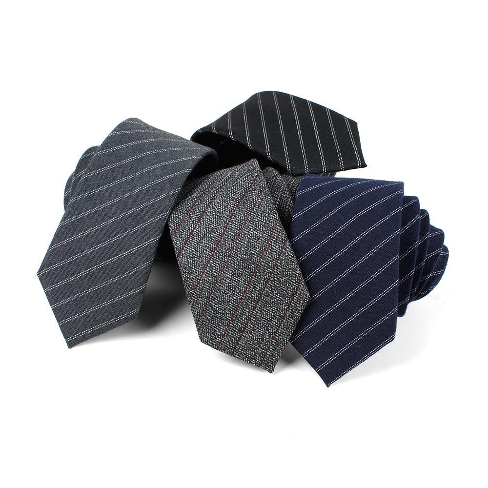 2019 Brand New Men's Fashion Striped Cotton Neck Ties For Man Wedding Vintage Classic Skinny Neckties Corbatas Navy Black
