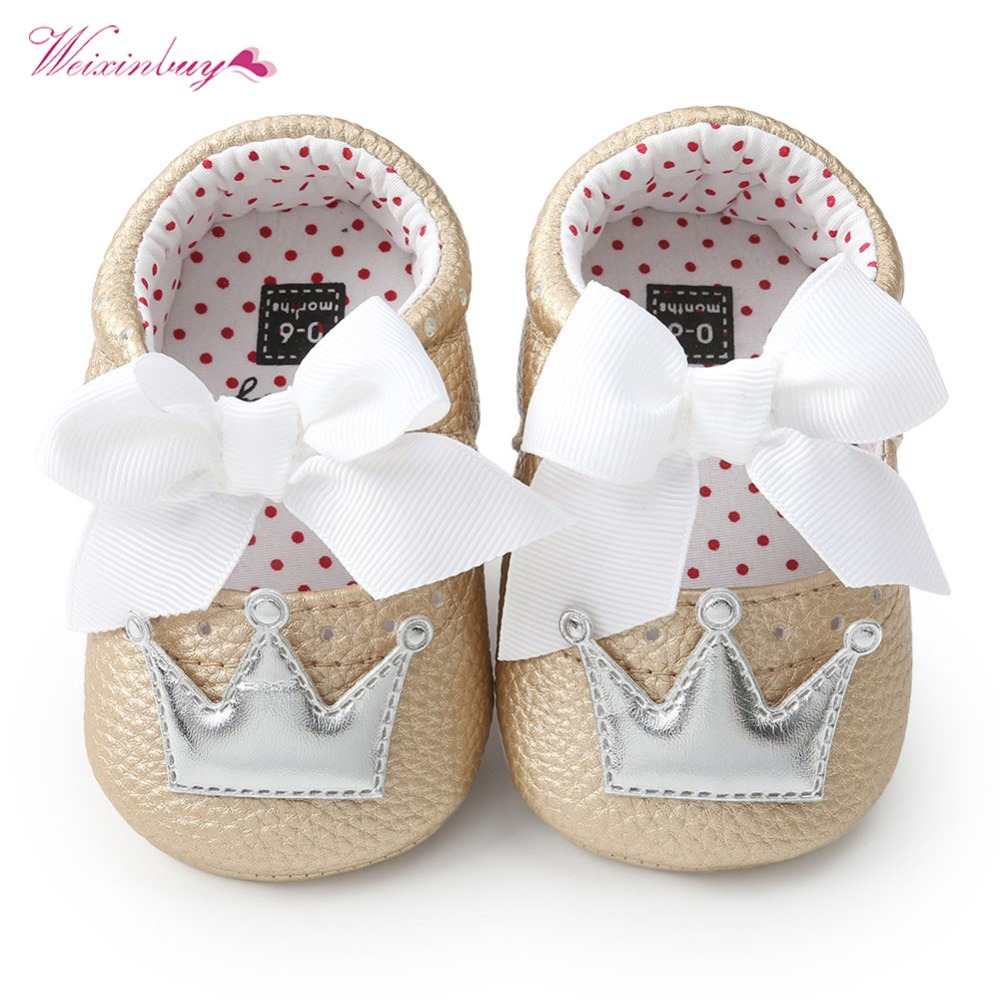 WEIXINBUY Baby Girl Shoes Cute Dots Crown Bling PU Leather Sneakers Non-slip First Walkers Soft Sole Prewalker Princess Shoe
