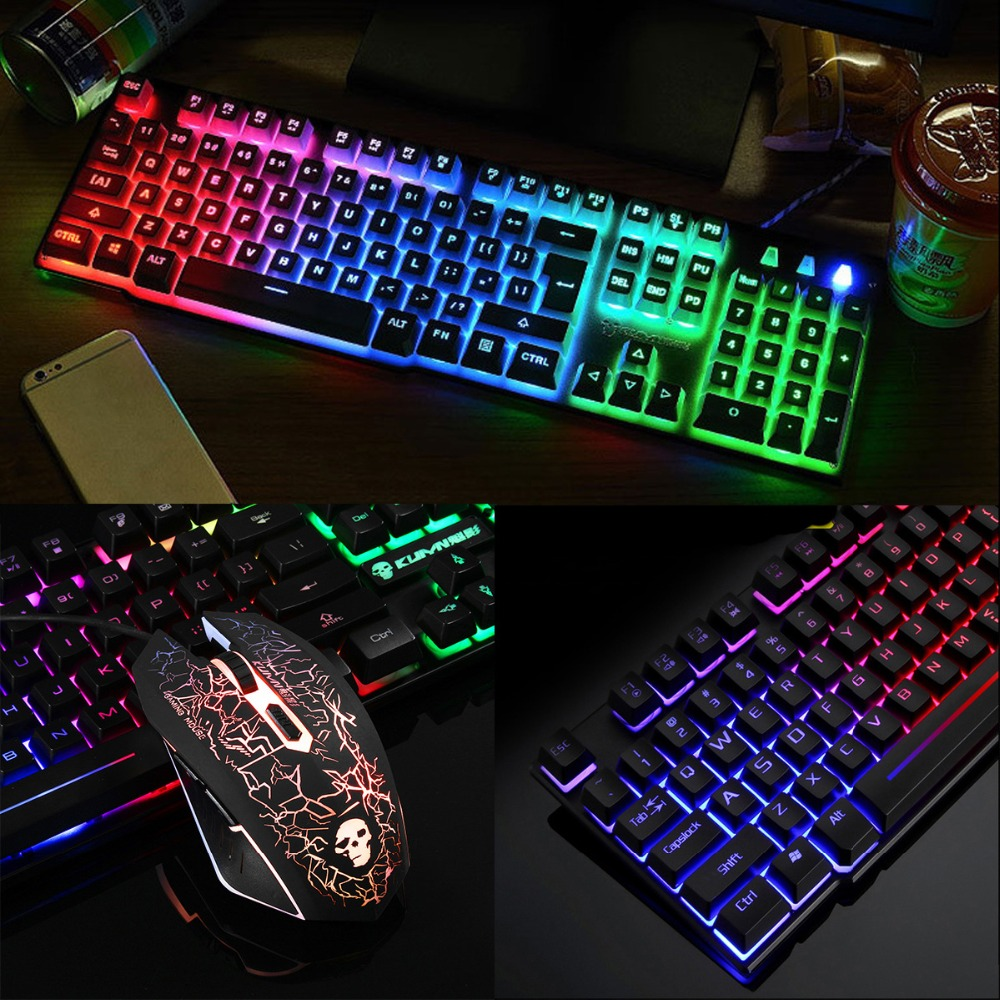 SHELI Wired <font><b>Gaming</b></font> Keyboard And Mouse Computer Colorful Backlight USB Mechanical Touch For Laptop PC Computer
