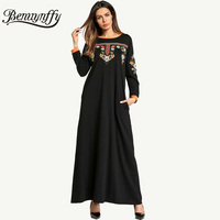 Benuynffy Ethnic Embroidery Vintage A Line Dress Autumn Winter Ladies Casual O neck Long Sleeve Women Elegant Maxi Dress Q861