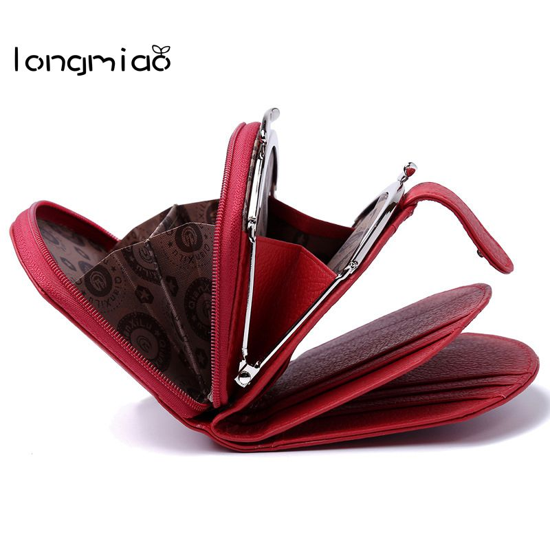 longmiao Small Ladies Wallet Female Short Mini Zipper Coin Purse Brand Genuine Leather Cowhide Card Holder Money Bag Walet